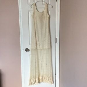 A'reve white lace and shear dress